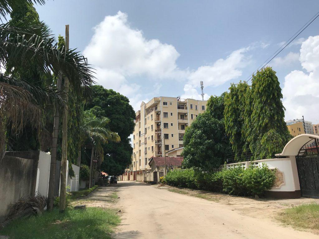 ダルエスサラームの都会の住宅街の道